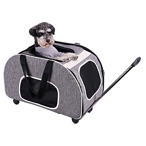 Bolsa De Transporte Plegable para Perros, Maleta con Ruedas para Mascotas, Bolsa para Gatos, Mochila Corgi Shiba Transpirable De Gran Capacidad