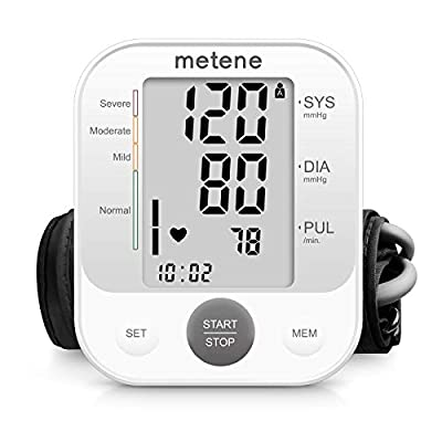 Metene Blood Pressure Monitor Upper Arm BP Cuff Machine, Accurate Automatic High Blood Pressure Machine Kit, Pulse Rate Monitor for Home Use
