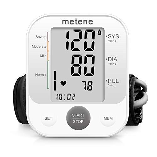 Metene TensióMetro de Brazo,Digital Monitor de PresióN Arterial Automatico Superior de Brazo,Pantalla Grande con Memoria de 240 Conjuntos, TransmisióN de Voz y BateríAs Incluidas