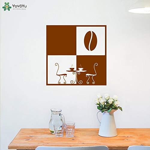 Muurtattoo moderne koffiekopje raamsticker keuken decoratie ontbijt salontafel patroon art design woondecoratie 85x85cm