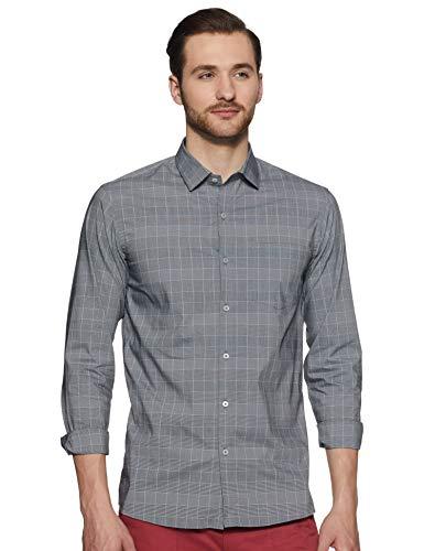 Arrow New York Men's Checkered Slim fit Formal Shirt (8907797472930_Grey 44)