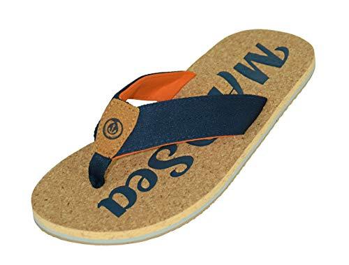 MADSea Nature Chanclas Sandalias de Playa para Hombre y Mujer Óptica de Corcho Azul Oscuro/Naranja, Tamaño:45 EU