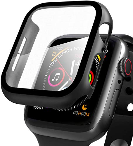 Apple Watch ケース Series4/5 に対応 44mm 液晶全面保護カバー iWatch アップルウォッチ シリーズ アップルウォッチ保護ケース 9H硬度 PCフレーム 耐衝撃性 超薄型 軽量 精密操作 高感度 脱着簡単 お風呂 傷付き保護 一体感 防塵 Series 4/5(44MM