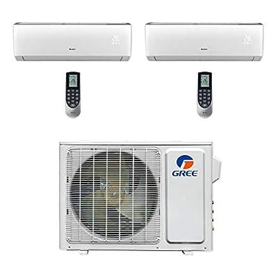 GREE MULTI18CVIR200-18,000 BTU Multi21+ Dual-Zone Wall Mount Mini Split Air Conditioner Heat Pump 208-230V (9-9)