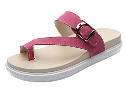 Runyue Damen Plateau Hausschuhe Lackleder Mokassins Peep-Toe Flache Freizeit Strand Pantoletten Sandalette Schuhe Pink 38