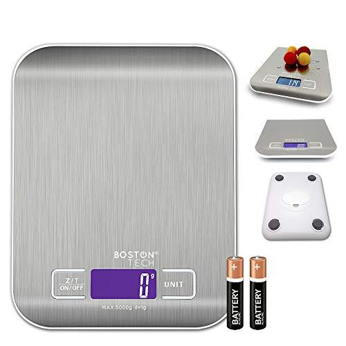 Báscula Digital de Cocina Capacidad 5 kg/11 lbs, para Frutas, Granos, Carne o Líquidos, Báscula de Joyería, Pantalla LCD, Plataforma de Acero Inoxidable, Función de Tara, Baterías Incluidas.