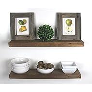 "SOLID RUSTICS Handmade Rustic Wood Floating Wall Shelves, Walnut, Set of 2, (24"" Walnut)"