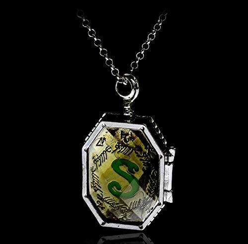 YioKpro Lord Voldemort Horcrux Locket Collares de doble cara de vidrio Slytherin símbolo de serpiente, colgantes para mujeres y hombres