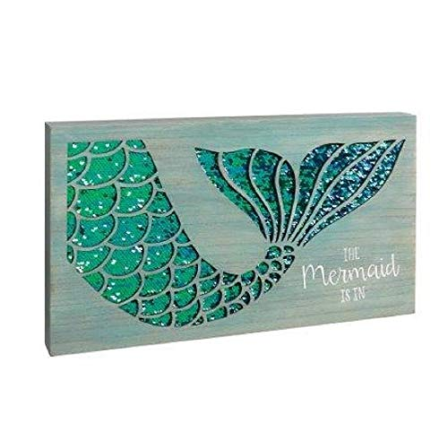"Grasslands Road Beautiful Wooden And Sequin Sign - ""The Mermaid is in"""