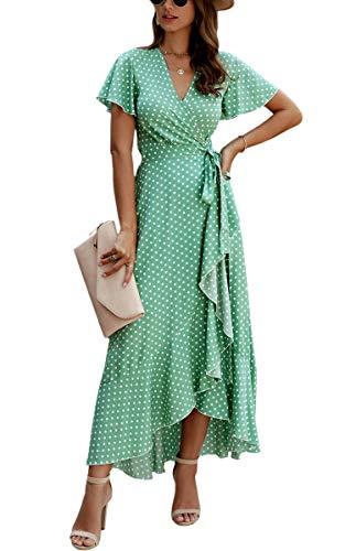 Spec4Y Damen Boho Lange Kleider V-Ausschnitt Sommerkleider Kurzarm Wickelkleid Maxikleid Strandkleid mit Schlitz 032Grün XL