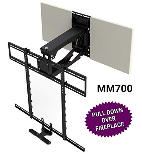 MantelMount MM700 Pro Series Above Fireplace Pull Down TV Mount for 45'-90' TVs Over Mantel