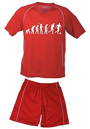 Coole-Fun-T-Shirts TRIKOTSET mit DEINEM Namen + Nummer ! Fussball Evolution Kinder Trikot + Hose rot-rot, 134-140