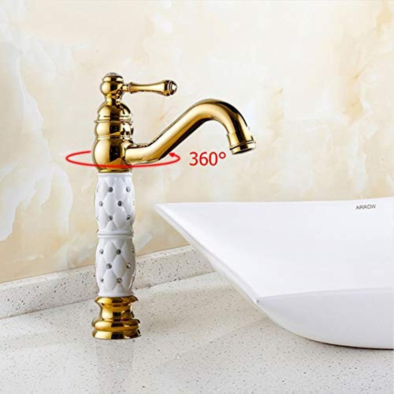 Lddpl Wasserhahn Badezimmer-Bassin-Goldhahn-Messing Mit Diamant-   Kristallkrper Tasingle-Griff-Heiem Und Kaltem Hahn