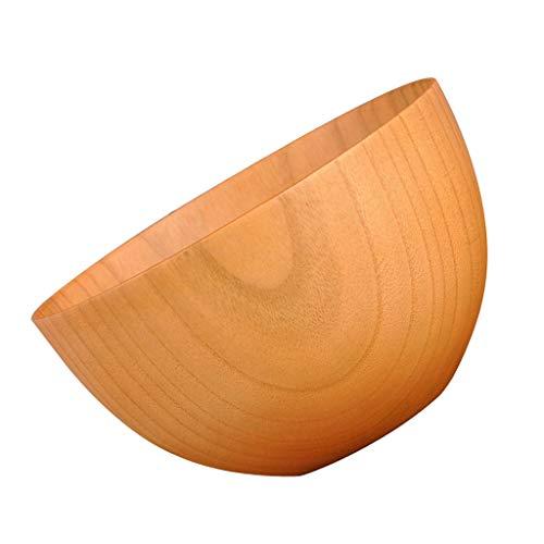 Baoblaze Bol en Bois Naturel Vaisselle à Main Forme Rond Bol De Riz Salade - Couleur Claire
