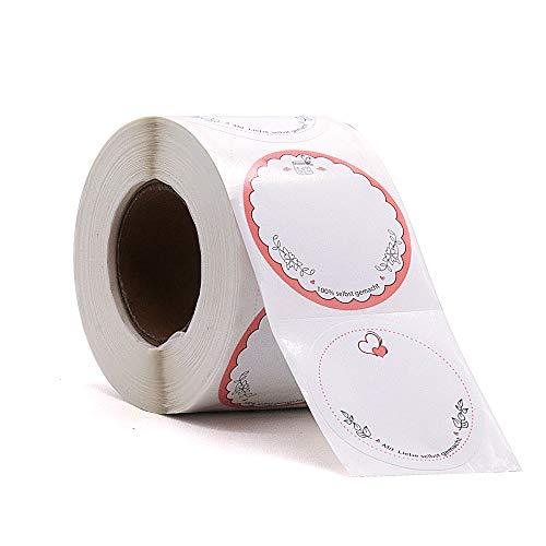 500 Etiketten Selbstklebend Marmelade Haushaltsetiketten Rund zum Beschriften 50x50 mm von Sinoest Klebeetiketten Aufkleber für Küche Hochzeit Weihnachten Geschenk Flaschen