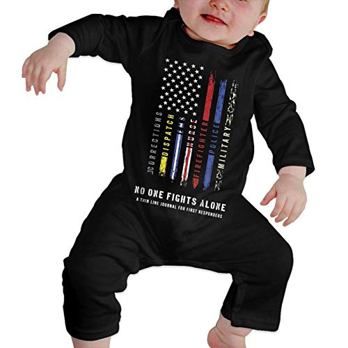 No One Fights Alone First Responders Baby Girl Boy Outfit Winter Clothes Cute Long Sleeve Jumpsuit Black