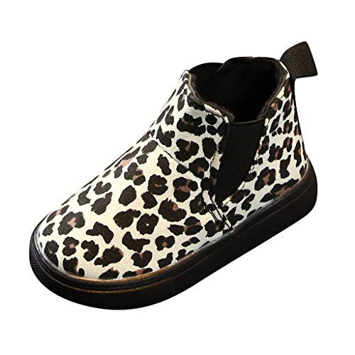 Lurryly Girls Penny Loafer Shoes Children Kids Baby Girls Boys Leopard Winter Warm Short Boots Casual Shoes Beige