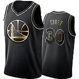 Stephen Curry Camiseta De Baloncesto para Hombre,Black Gold Golden State Warriors #30 BordadaTranspirable De Malla Stephen Curry Basketball Jersey (Size:L,Color:A1)