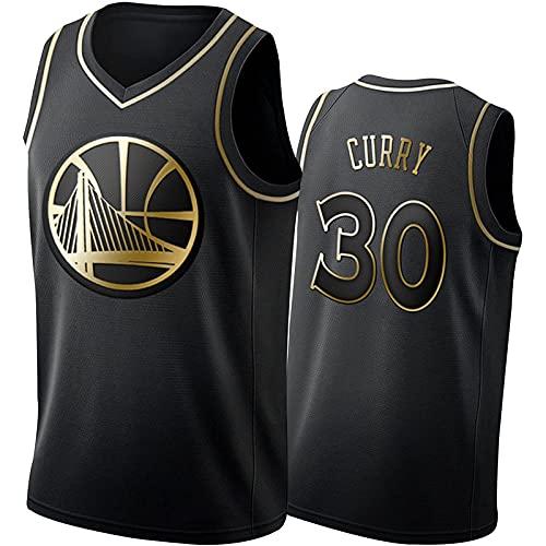 Stephen Curry Camiseta De Baloncesto para Hombre,Black Gold Golden State Warriors #30 BordadaTranspirable De Malla Stephen Curry Basketball Jersey (Size:XXL,Color:A1)
