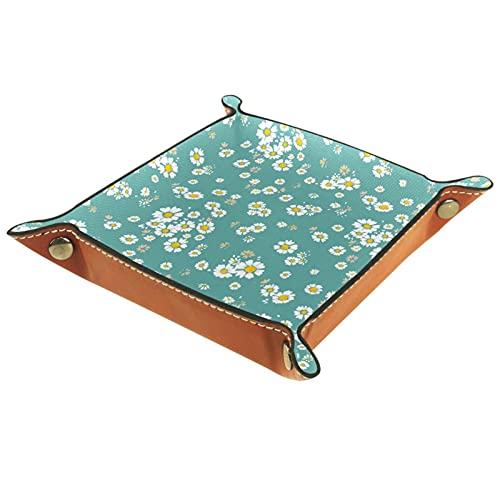Pequeñas flores de margaritas blancas fondo azul para la moneda clave teléfono joyería cartera organizador de escritorio personalizado