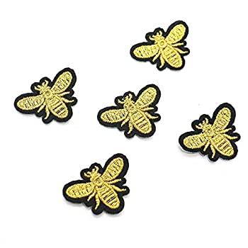 SenseYo 12 Pcs Cute Embroidered Sewing Bees Patches Sewing Patch for Bags Jackets Jeans Clothes Embroidered DIY Patches Kids Craft Patch  Gold