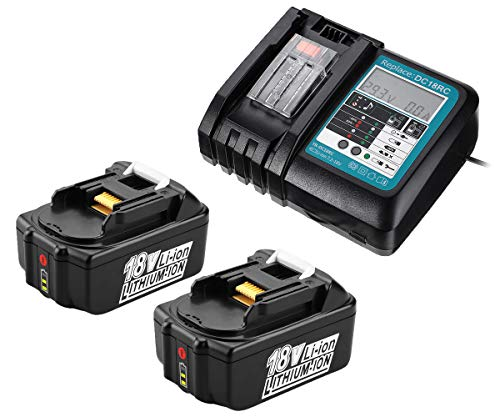 PowerWings 2X BL1850B Battery and Charger 18V 5Ah Replacement for Makita Batteries with Charger DC18RC 3A Compatible with Makita BL1850B BL1860B BL1830B, for Makita Lawn Mower DLM431Z DLM380Z DUC353Z