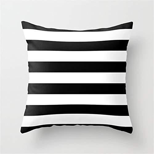 DearLord - Funda de cojín horizontal, diseño de rayas, color blanco y negro