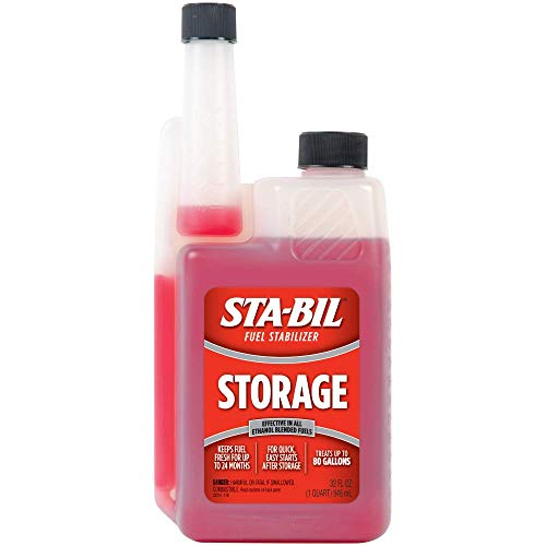 STA-BIL (22214) Storage Fuel Stabilizer - Guaranteed To Keep Fuel Fresh Fuel Up To Two Years - Effective In All Gasoline Including All Ethanol Blended Fuels - Treats Up To 80 Gallons, 32 fl. oz.