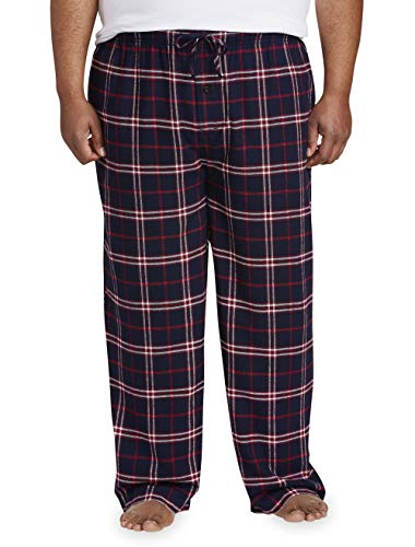 Amazon Essentials Men's Big & Tall Flannel Pajama Pant fit by DXL, Navy/Red Plaid, 3X