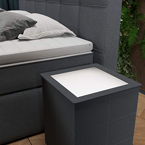 INNOCENT® Nachttisch Morano mit LED in | Stoff Grau N13 | Moderner Beistelltisch passend für Boxspringbett (en) | Nachtkonsole für Betten, Polsterbetten