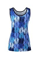 Lands' End Women s Cotton Tank Top Deep Sea Palm Leaves Petite X-Small