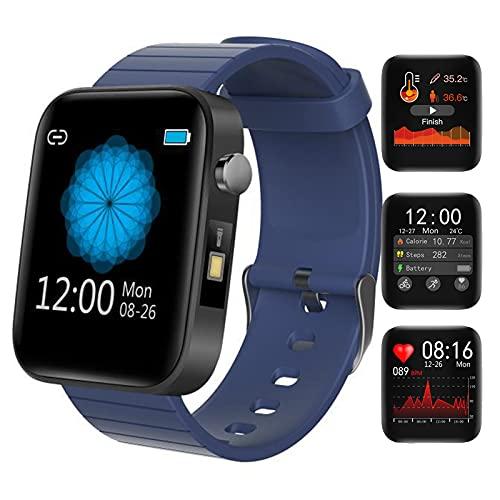 HQPCAHL Smartwatch Reloj Inteligente Mujer Hombre con Frecuencia Cardíaca/Temperatura/Sueño/Presión Arterial/Oxígeno En Sangre, Reloj Deportivo con Linterna, Pulsera Actividad Inteligente,Azul