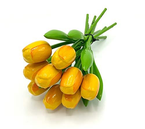 MomoMoments Hochwertiger Tulpenstrauß Gelb/Orange aus Holz für die Liebste, 9 gelbe Holztulpen handbemalt, 34 cm hoch, Blumenstrauss, Dekoration, Frauengeschenk, Made in Holland