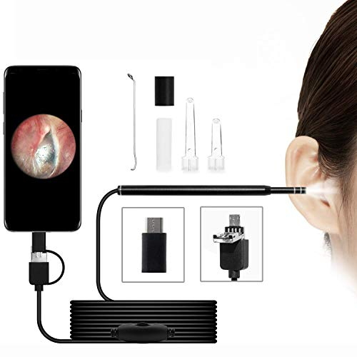 USB Otoscope-Ear Scope Camera, 3-in-1 Digital Led Otoscope, 4.3mm Diameter Visual Ear Camera HD Ear Endoscope with Earwax Cleaning Tool and 6 Adjustable LED Lights for Android/Windows/Mac