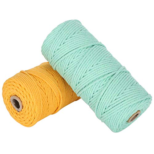 2 Piezas de Hilo de algodón, cordón de Hilo de algodón ecológico Suave, para Tejer jardinería