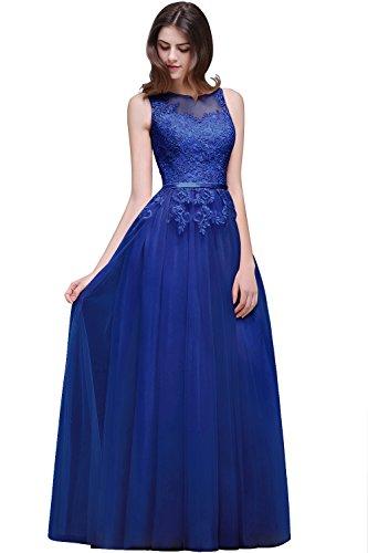 MisShow Brautjungfernkleider Damen elegant Tüll Abendkleider Ballkleider Abschlusskleider Maxilang Kleid Royalblau 38