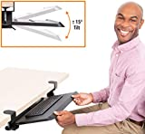 Stand Steady Clamp On Keyboard Tray with Adjustable Tilt   Ergonomic Under Desk Keyboard Shelf   Damage-Free Easy Installation- No Drilling Required   Perfect for Home or Office!
