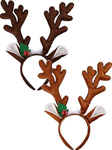 2 Pieces Antler Headband Reindeer Headband Christmas Easter Headwear with Ears (Dark Brown, Light BrownStyle A)