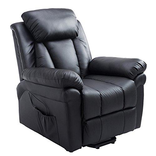 Homcom Fauteuil de Relaxation électrique Fauteuil releveur inclinable avec Repose-Pied Ajustable Simili Cuir Noir
