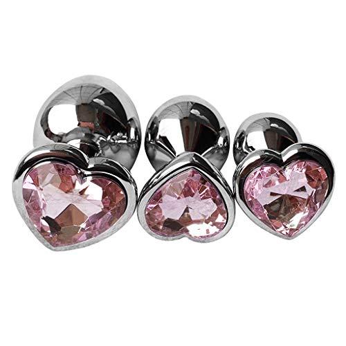 Chaoxiner Amal Plùck Beads - Juego de 3 abalorios de cristal con forma de corazon rosa