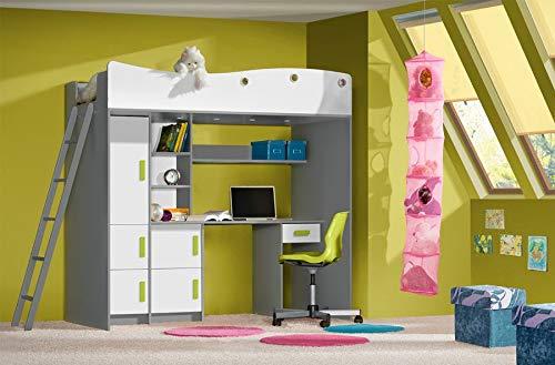 *Etagenbett für Kinder GIT Stockbett mit Treppe und Bettkasten KRYSPOL (Anthrazit + Weiße + grüne Griffe)*
