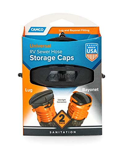 Camco RV Sewer Hose Storage Cap Set - Lug and Bayonet Caps   Allows You to Seal Both Ends of Your Sewer Hose Before Storing   Odor and Leak Proof Connection - 2 Pack (39752)