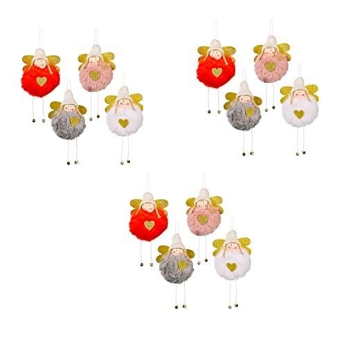 12pc Angel Angel Doll Ornaments, Angeli Natale Peluche Decorazione della bambola, Angel Doll Artigianato Elfi for decorazioni di Natale Decorazioni Bianco Rosso Bianco Grigio Rosa, Natale Angelo Doll