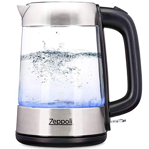 Zeppoli Electric Kettle - Glass Tea Kettle (1.7L) Fast Boiling and Cordless, Stainless Steel Finish Hot Water Kettle - Hot Water Dispenser - Glass Tea Kettle, Tea Pot Water Heater (Model C)