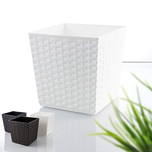 Blumenübertopf Rattan-Optik | toller Pflanz- Blumenkübel für innen & außen | UV-beständiger Terrasenblumentopf (Weiß, h = 17cm)