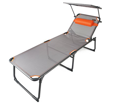 Portal Outdoor Camping Lounger / Camping Bed with Adjustable Reclining Backrest and Removable Adjustable Pillow, Supports up to 120kg