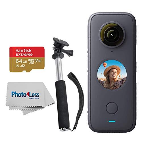 Insta360 ONE X2 Pocket Camera + SanDisk 64GB Extreme Memory Card +Handheld Monopod - Action Camera Starter Kit