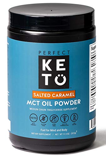 Perfect Keto MCT Oil C8 Powder, Coconut Medium Chain Triglycerides for Pure Clean Energy, Ketogenic Non Dairy Coffee Creamer, Bulk Supplement, Helps Boost Ketones, Salted Caramel