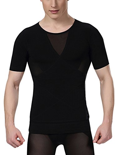 AIEOE Men's Compression Shirt to Hide Gynecomastia Moobs Chest Slimming Body Shaper Undershirt Size XL Black