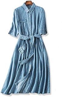 Vestido de Mezclilla de Seda con Mangas de Cinco Puntos para Mujer